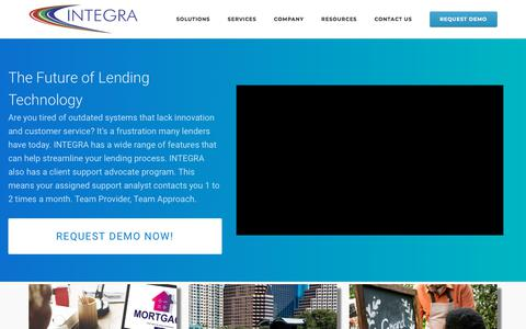Screenshot of Home Page integraloantech.com - Integra Software Systems - 22 Years Serving Clients Like You - Lending - captured Aug. 19, 2019