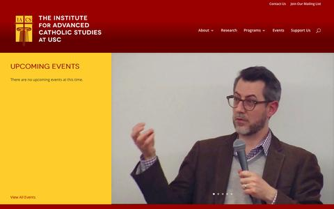 Screenshot of Home Page ifacs.com - Institute for Advanced Catholic Studies | at University of Southern California - captured April 8, 2017