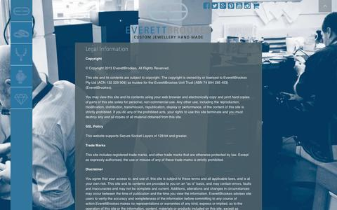 Screenshot of Terms Page everettbrookes.com.au - Legal Information | Everett Brookes - captured Nov. 12, 2016