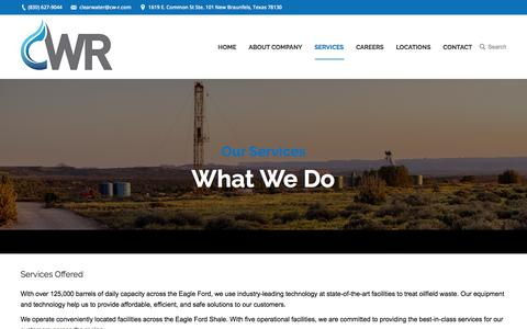 Screenshot of Services Page clearwaterresources.com - Services - Clear Water Resources - captured July 19, 2018