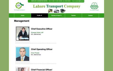 Screenshot of Team Page ltc.gop.pk - Lahore Transport Company (LTC) - captured Jan. 24, 2016