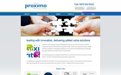 Screenshot of Home Page proximo.co.uk - Proximo - captured Sept. 30, 2014