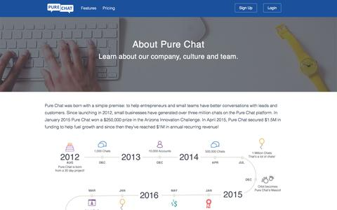 Screenshot of About Page purechat.com - Learn About Pure Chat - captured Jan. 19, 2018