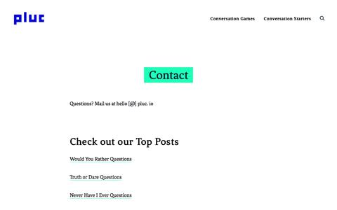 Screenshot of Contact Page pluc.io - Contact — Pluc - captured Aug. 19, 2019