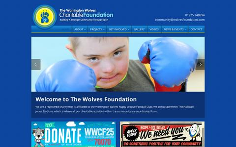 Screenshot of Home Page wolvesfoundation.com - Warrington Wolves Charitable Foundation - captured Oct. 6, 2014