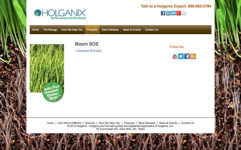 Screenshot of holganix.com - SDS - captured March 19, 2016