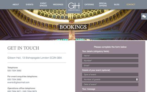 Screenshot of Contact Page gibsonhall.com - Book Your Event At Gibson Hall in City of London | Gibson Hall - captured Jan. 27, 2018