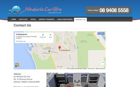 Screenshot of Contact Page mindariecarhire.com.au - Mindarie Car Hire , Car Rental North of the River Perth - captured March 8, 2016