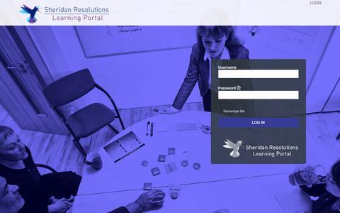Screenshot of Login Page sheridanresolutions.com - Sheridan Resolutions Learning Portal – Sheridan Resolutions Learning Portal - captured Sept. 20, 2018