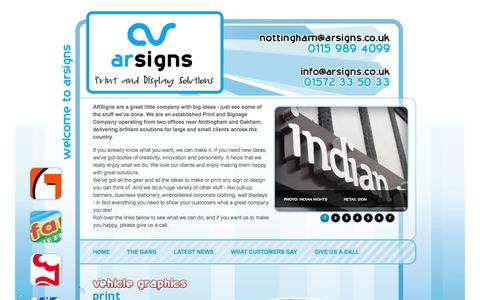 Screenshot of Home Page Site Map Page arsigns.co.uk - AR Signs for Business Signage, Vehicle Graphics, Livery and Wrapping - captured Oct. 4, 2014