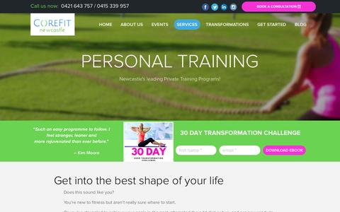 Screenshot of Services Page corefitnewcastle.com.au - Personal Training Packages in Newcastle – Work With a Top Personal Trainer from CoreFit Newcastle - captured July 16, 2016