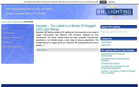 Screenshot of Case Studies Page shlighting.co.uk - Case Studies Archives - SH Lighting - captured Sept. 30, 2014