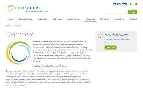 Screenshot of About Page ecospheretech.com - About Ecosphere Technologies water treatment systems - captured July 19, 2014