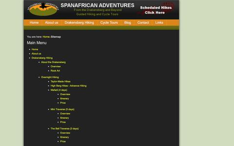 Screenshot of Site Map Page spanafrican-adventures.co.za - Sitemap - Spanafrican Adventures - captured Aug. 15, 2016