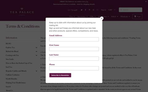 Screenshot of Terms Page teapalace.co.uk - Terms & Conditions - Tea Palace - captured Oct. 19, 2018