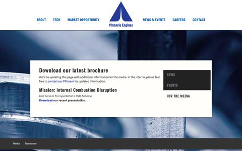 Screenshot of Press Page pinnacle-engines.com - For the Media - captured Jan. 28, 2016