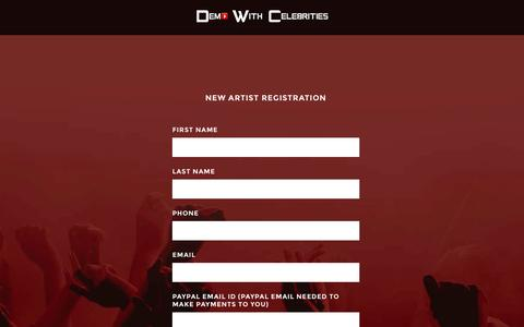 Screenshot of Signup Page demowithcelebrities.com - Start Selling | Demo With Celebrities - captured Sept. 30, 2014