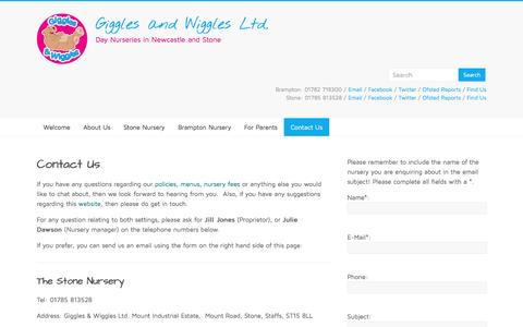 Screenshot of Contact Page giggleswiggles.co.uk - Contact Us – Giggles and Wiggles Ltd. - captured Dec. 31, 2016