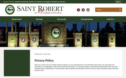 Screenshot of Privacy Page saintrobert.com - Privacy Policy   St. Robert, MO - captured Sept. 28, 2018