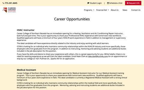 Screenshot of Jobs Page ccnn.edu - Career Opportunities - CCNN - captured Nov. 10, 2018