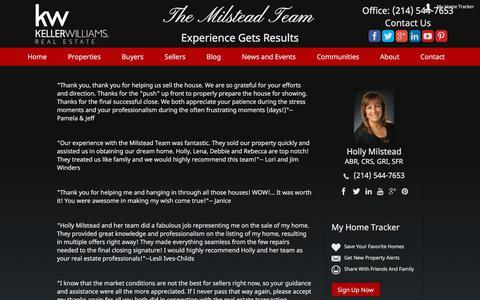 Screenshot of Testimonials Page themilsteadteam.com - McKinney TX Realtor, Real estate McKinney, Best Realtor in McKinney, Milstead Team, - captured Sept. 21, 2018