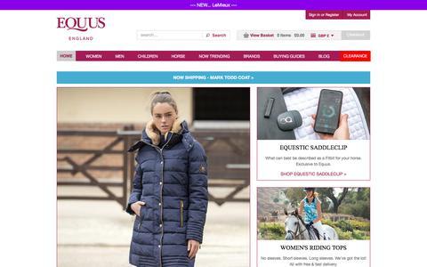 Screenshot of Home Page equus.co.uk - Shop equestrian clothing online. Best service & free UK delivery. - captured Sept. 26, 2018