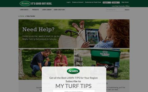 Screenshot of Contact Page scotts.com - Help Center-Contact Lawn and Grass Experts-Scotts - captured Dec. 24, 2016