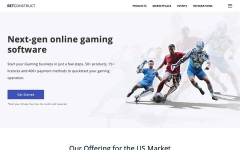 Screenshot of Home Page betconstruct.com - #1 Online Gaming Software | iGaming Solution | BetConstruct - captured June 12, 2019