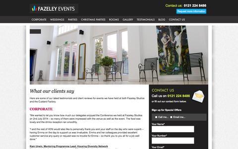 Screenshot of Testimonials Page fazeleyevents.co.uk - Testimonials for Events, Weddings & Parties | FazeleyEvents.co.uk - captured Sept. 30, 2014