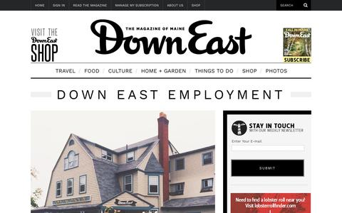 Screenshot of Jobs Page downeast.com - Down East Employment - captured Oct. 9, 2018