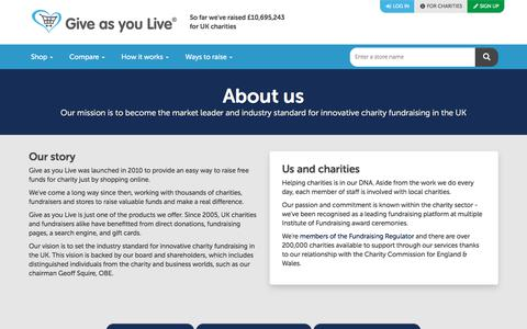 Screenshot of About Page giveasyoulive.com - About us | Give as you Live - captured July 11, 2019
