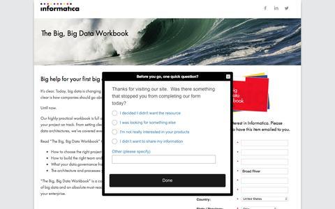 Screenshot of Landing Page informatica.com - The Big, Big Data Workbook - captured June 22, 2016