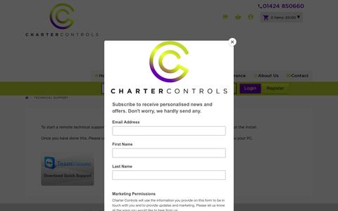Screenshot of Support Page charter-controls.com - Technical Support | Charter Controls - captured Nov. 4, 2018