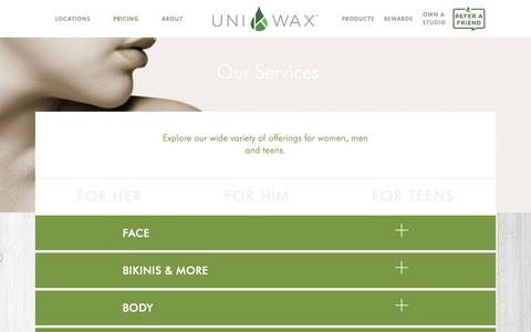 Screenshot of Pricing Page unikwax.com - Services | Uni K Wax Studios - captured Oct. 1, 2018