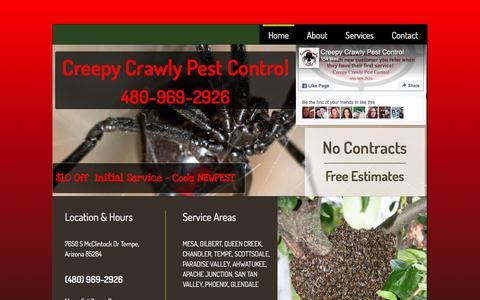 Screenshot of Home Page creepycrawlypestcontrol.com - Home - captured May 23, 2017