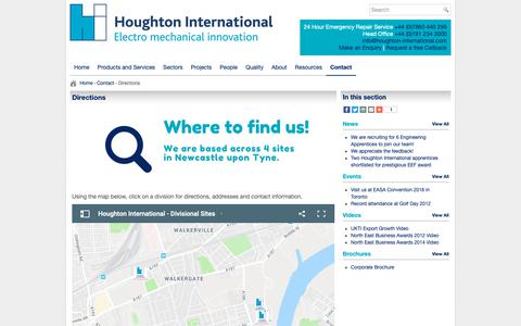 Screenshot of Maps & Directions Page houghton-international.com - Directions Map to Houghton International, Newcastle upon Tyne - captured Sept. 30, 2018