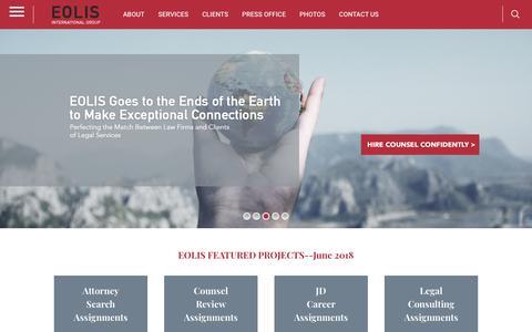 Screenshot of Home Page eolis.com - EOLIS.com | EOLIS Delivers Top Attorney & Law Firm Talent - captured Sept. 28, 2018
