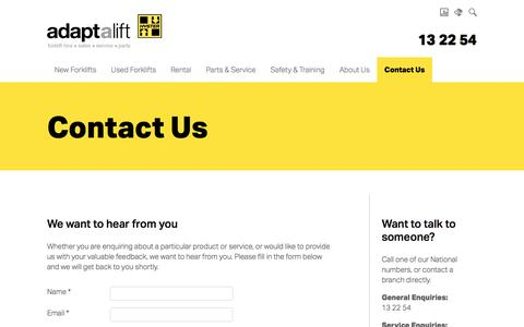 Screenshot of Contact Page aalhysterforklifts.com.au - Contact Us | Adaptalift Hyster - captured Sept. 9, 2016