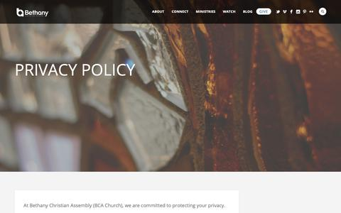 Screenshot of Privacy Page bcachurch.com - Privacy - Bethany Christian Assembly - captured Oct. 5, 2018