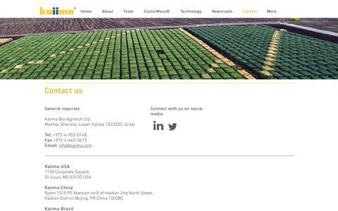 Screenshot of Contact Page kaiima.com - Castor Hybrids | Israel | Kaiima Bio Agritech | Contact - captured Oct. 14, 2018