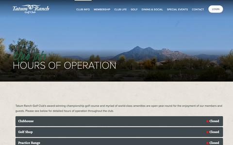 Screenshot of Hours Page tatumranchgc.com - Hours of Operation | Tatum Ranch Golf Club - captured Oct. 19, 2018