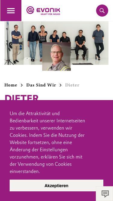 Screenshot of Team Page  evonik.com - Dieter                                                                - Evonik Careers