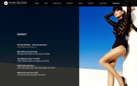 Screenshot of Contact Page markdelong.com - Contacts Of Mark DeLong Fashion Photographer - captured Oct. 3, 2014