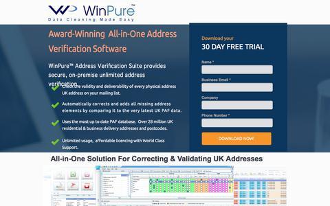 Screenshot of Landing Page winpure.com - UK Address Verification Software - captured May 11, 2018