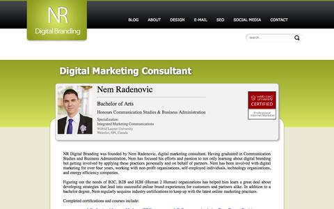 Screenshot of About Page nrdigitalbranding.com - Digital Marketing Consultant - Kitchener-Waterloo - captured Oct. 26, 2014