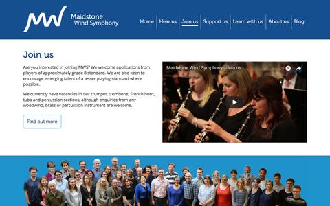 Screenshot of Signup Page maidstonewindsymphony.org - Join us | Maidstone Wind Symphony - captured July 27, 2018