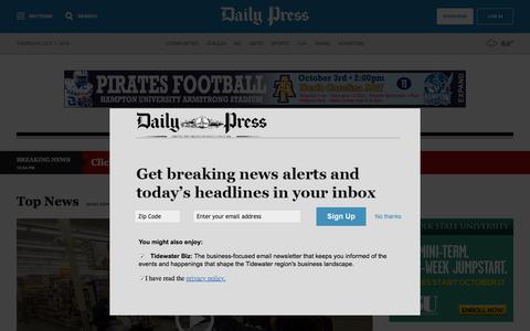 Screenshot of Press Page dailypress.com - Hampton Roads News: Daily news, local news from the Newport News, Hampton, Williamsburg, York county, Gloucester, Norfolk, Virginia Beach, Portsmouth, Chesapeake, Suffolk and Hampton Roads, Virginia - Daily Press - captured Oct. 1, 2015