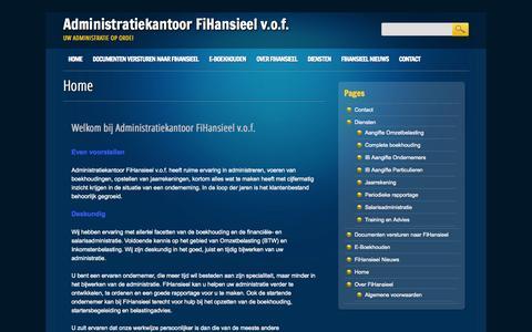 Screenshot of Home Page fihansieel.nl - Administratiekantoor FiHansieel v.o.f. | Uw administratie op orde! - captured Oct. 4, 2014