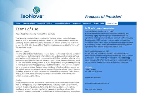Screenshot of Terms Page isonovatech.com - IsoNova Technologies LLC - captured Oct. 6, 2014