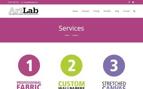Screenshot of Services Page artlab.co.za - Services   ArtLab - captured Oct. 22, 2017